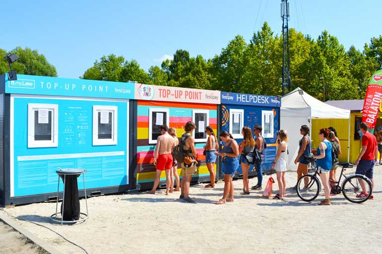 continest containers at beach festival