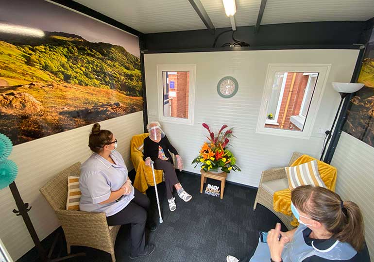 care home visitor pod guests