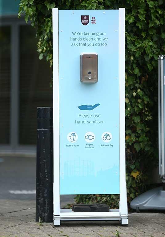 hand sanitiser station at oval crowd pilot scheme