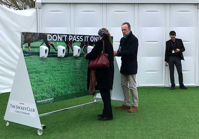 hand sanitiser stations at cheltenham festival