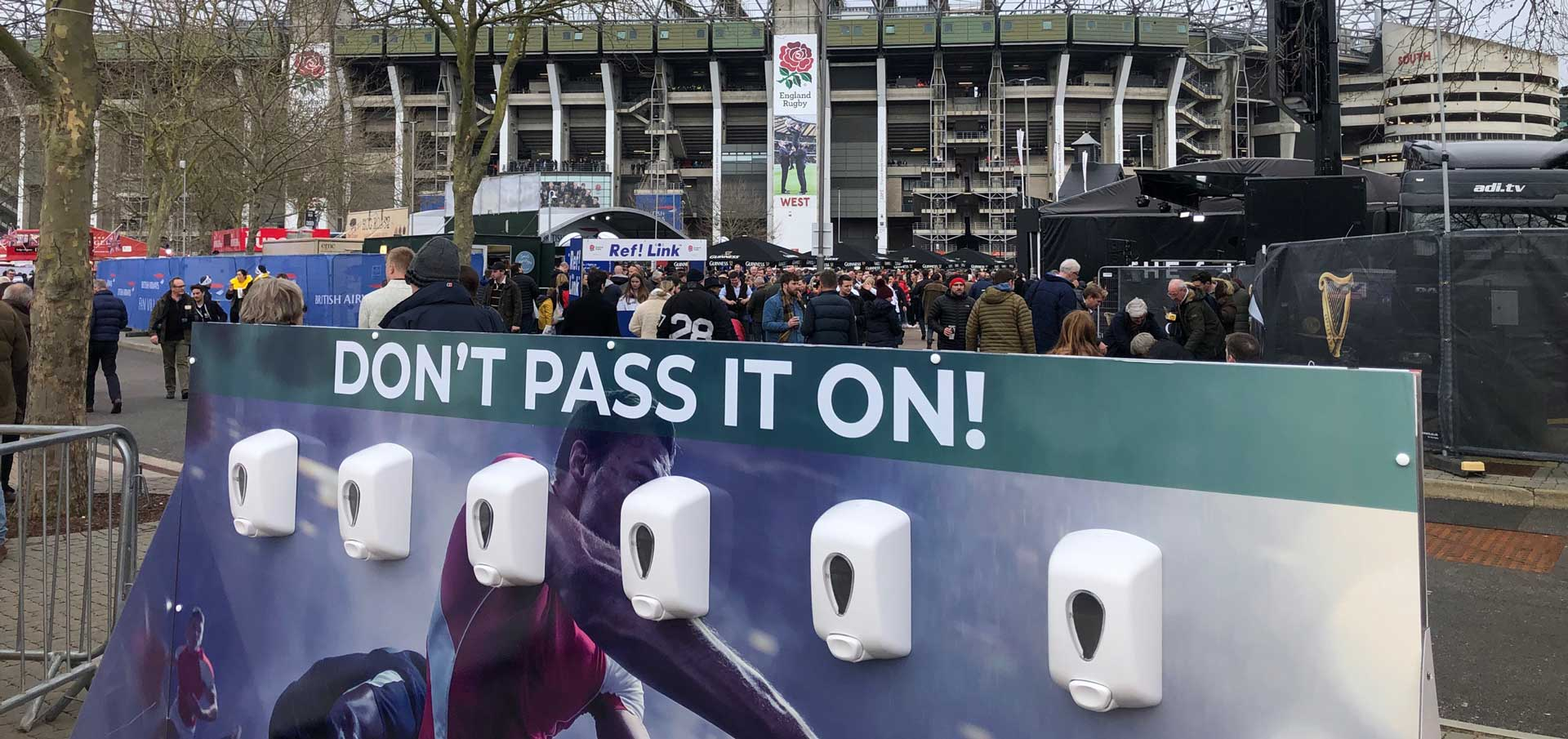 hand sanitiser stations at rugby six nations twickenham