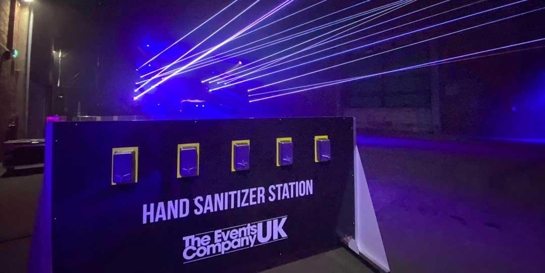 hand sanitiser station for pilot nightclub event